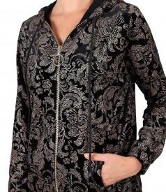Elastic velvet hoodie printed with gold motifs
