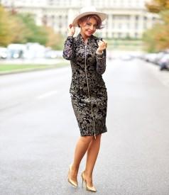 Elastic velvet midi dress with reversible zipper