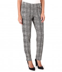 Fabric pants with animal print and lurex thread