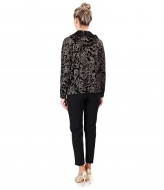 Velvet sweatshirt with golden motifs and ankle pants