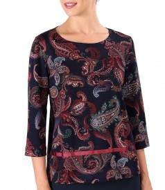 Blouse made of printed thick elastic jersey