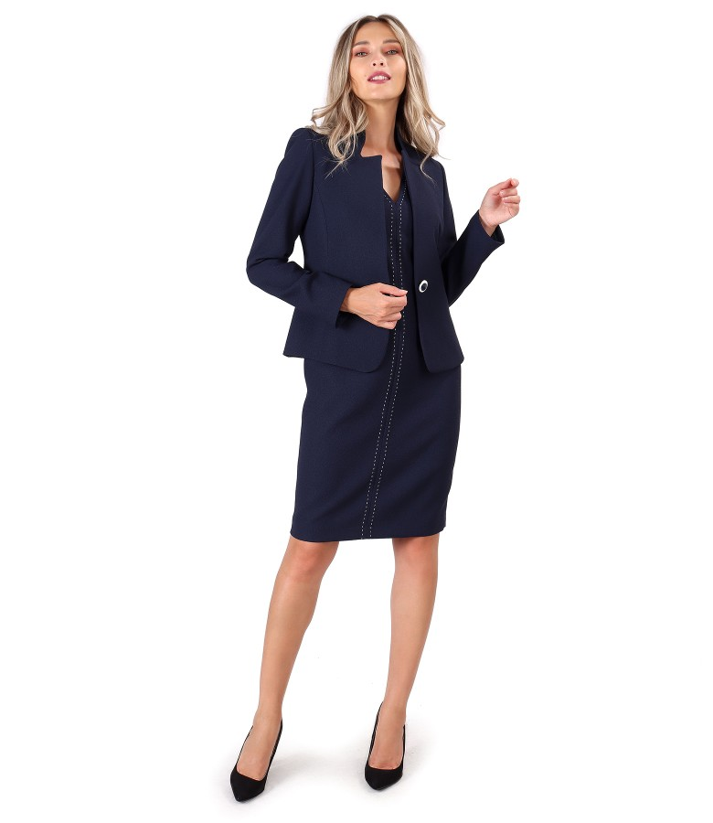 Office women suit with dress and jacket made of elastic fabric