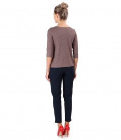 Elastic jersey blouse and ankle pants