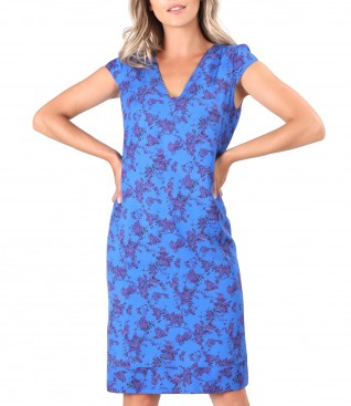 Viscose midi dress printed with floral motifs