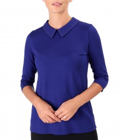 Jersey blouse with collar