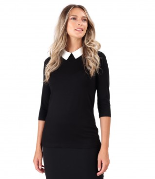 Elastic jersey blouse with pointed collar
