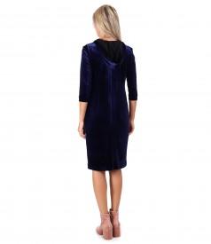 Hooded elastic velvet dress