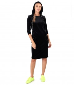 Hooded elastic velvet dress