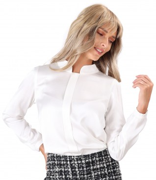 Viscose satin blouse with tunic collar