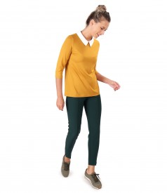 Ankle pants with white collar blouse