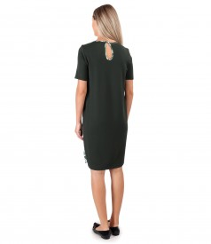 Casual dress with printed satin