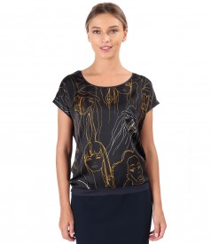 Blouse with printed satin front