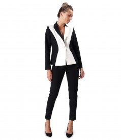 Office outfit with ankle pants and jacket in two colors