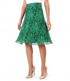 Veil skirt printed with leaves