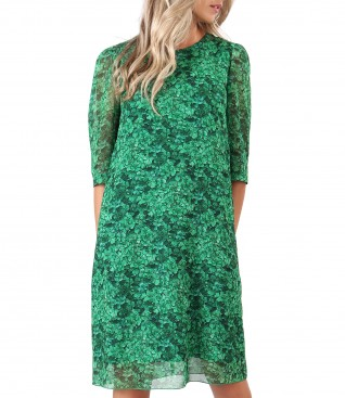 Casual veil dress printed with floral motifs