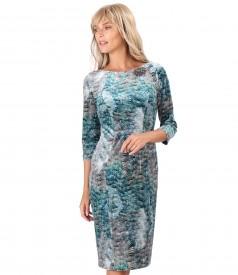 Elastic printed velvet midi dress