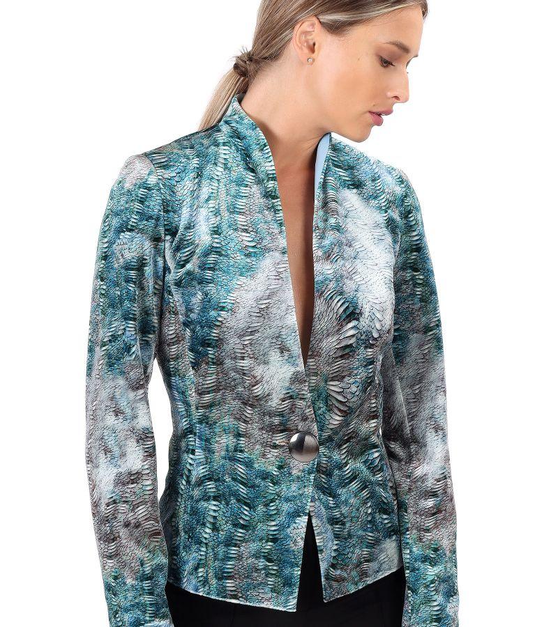Elastic printed velvet jacket