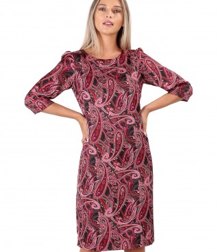 Casual dress made of printed satin