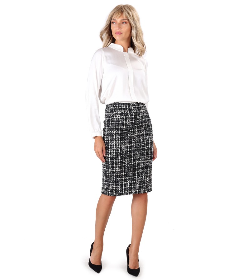 Viscose satin blouse with wool loop skirt