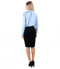 Velvet skirt printed with flowers and viscose satin blouse