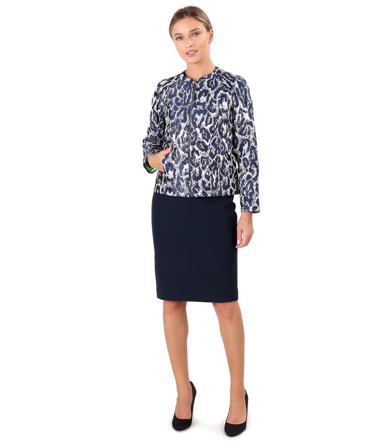 Brocade jacket with metallic thread and elastic fabric skirt