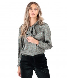Elegant blouse made of printed satin
