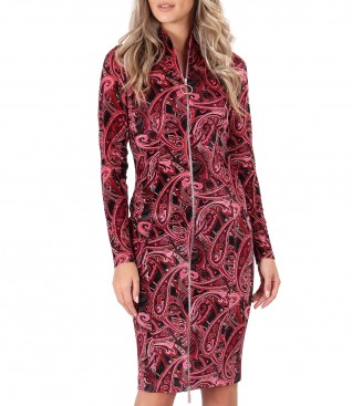 Elastic velvet midi dress with double opening zipper