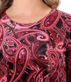 Elegant dress made of velvet printed with paisley motifs