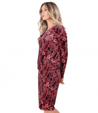 Elegant dress made of velvet printed with paisley motifs