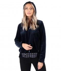 Velvet hoodie with front trim