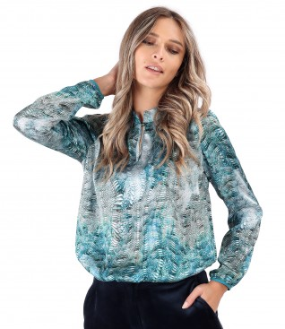 Satin blouse with snake print motifs
