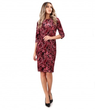Elastic printed velvet midi dress
