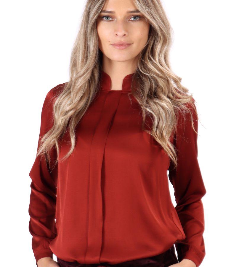 Viscose satin blouse with tunic collar