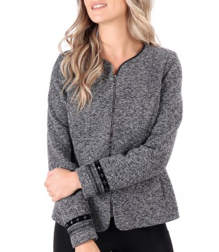 Office jacket with trimmings on the sleeves