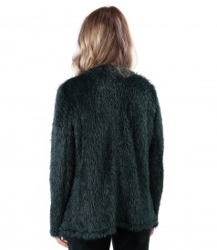 Knitted cardigan with rips on the face