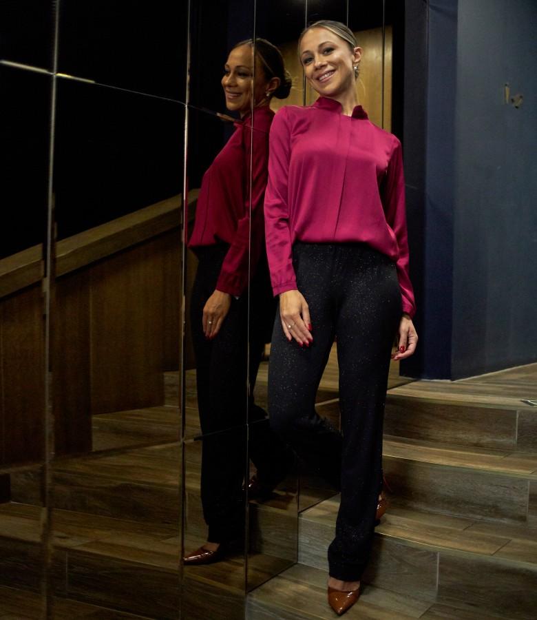 Viscose satin blouse with shiny pants