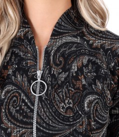 Elastic brocade midi dress with double opening zipper