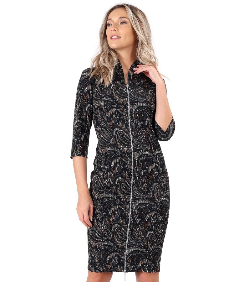 Elastic brocade midi dress with double opening zipper