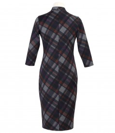 Dress made of thick elastic jersey with double opening zipper