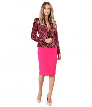 Jacket made of printed velvet with tapered skirt