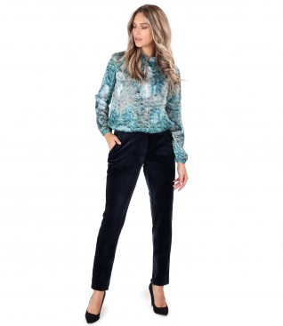 Satin blouse with elastic velvet pants