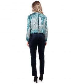 Satin blouse with elastic velvet pants