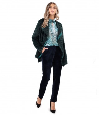 Knitted cardigan with velvet pants