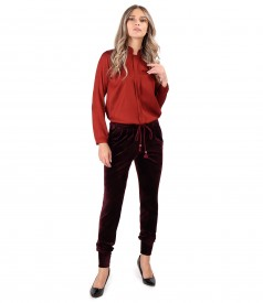 Viscose satin blouse with velvet pants