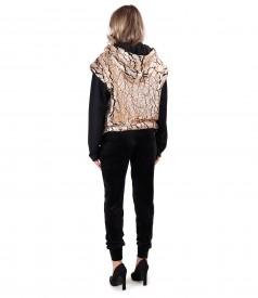 Sweatshirt made of 3D fabric with velvet pants