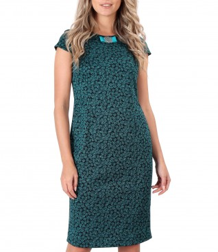 Elastic jerseydress with leaves print
