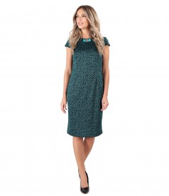 Elastic jersey dress with leaves print