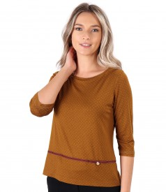 Elastic jersey blouse printed with dots