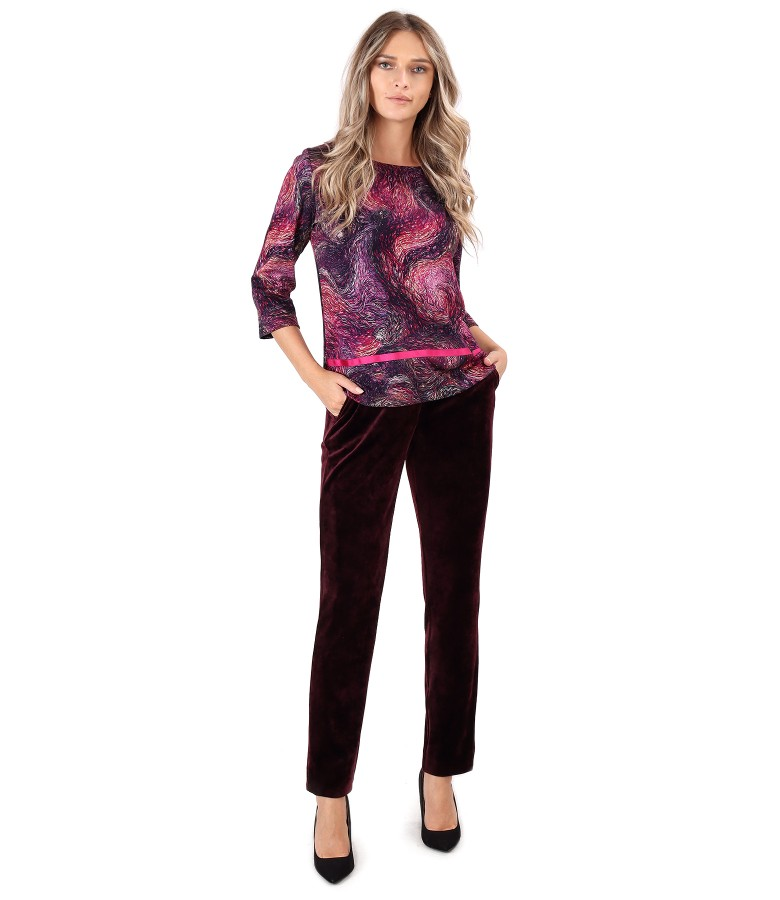 Blouse made of thick elastic jersey with velvet pants