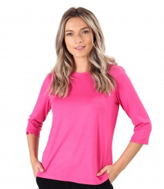 Elastic jersey blouse with pleats at the decolletage and sleeve